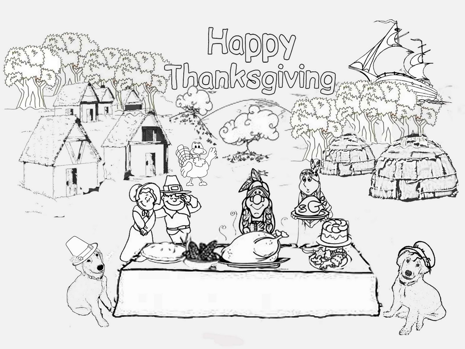 First thanksgiving dinner coloring pages