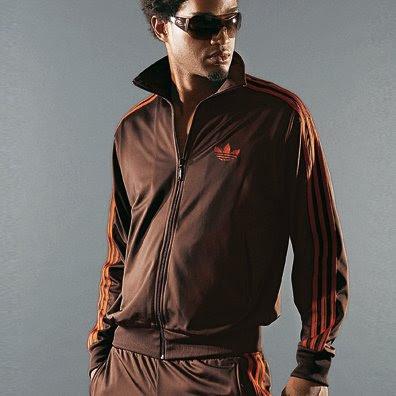 ae977df32 Les3bandes: Survêtement adidas Firebird marron bandes oranges