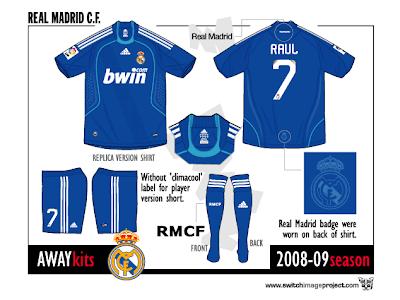 fb1470a2b Football teams shirt and kits fan  Real Madrid Adidas 2008-09 Away shirt