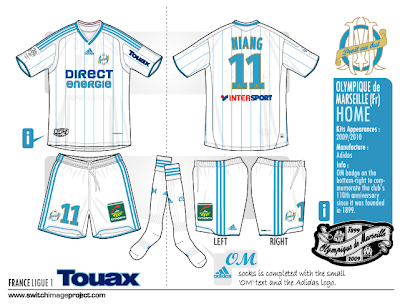 Olympique Marseille home shirts will be worn with white shorts and socks is  completed with the text