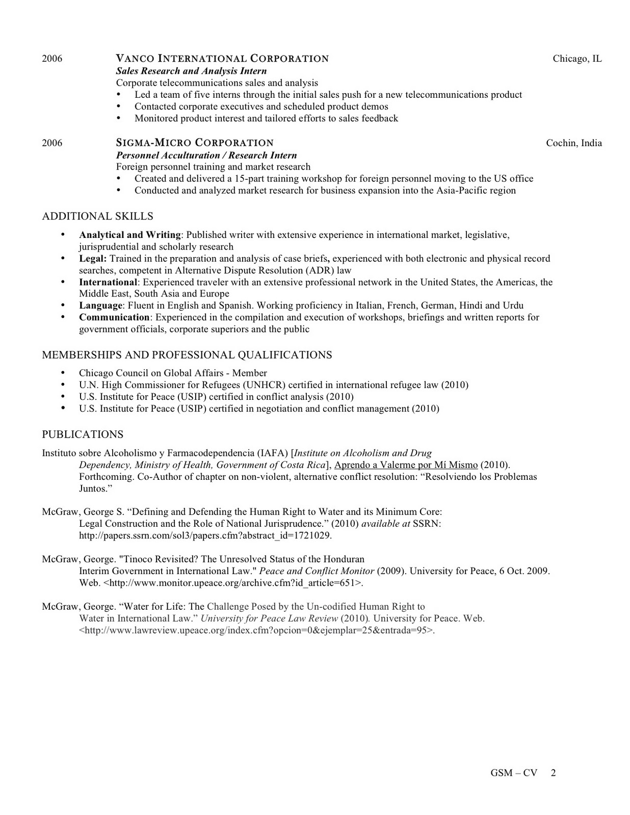 resume and publications  cv and contact information