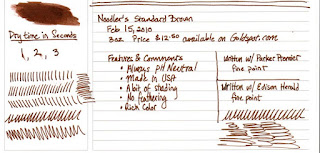 Review : Noodlers Standard Brown Fountain Pen Ink