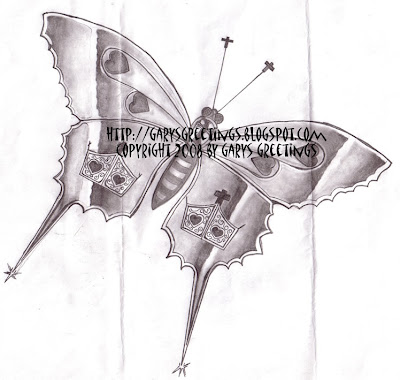 Gary drew this butterfly as the first draft of a tattoo design for his