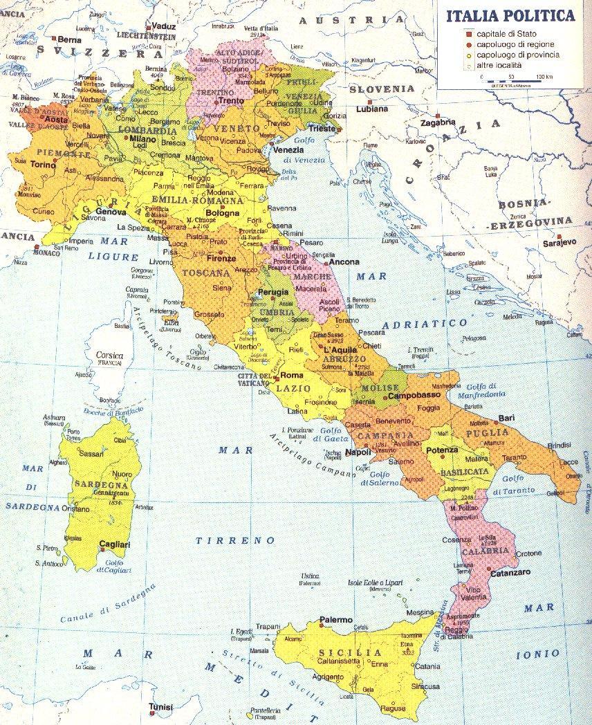 Cartina Politica Italia Con Regioni E Capoluoghi