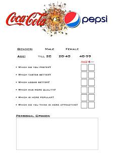 Sample questionnaires for market survey for pepsi