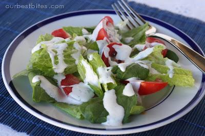 garden salad with buttermilk ranch dressing