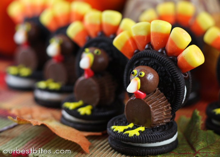 Oreo Turkeys (with candy corn tails!) by Our Best Bites