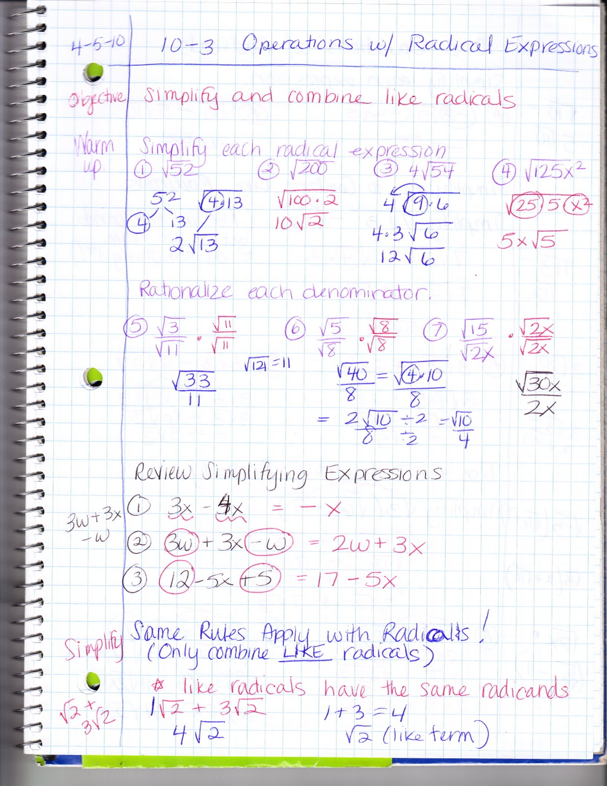 Ms Jean S Classroom Blog 10 3 Operations With Radical Expressions
