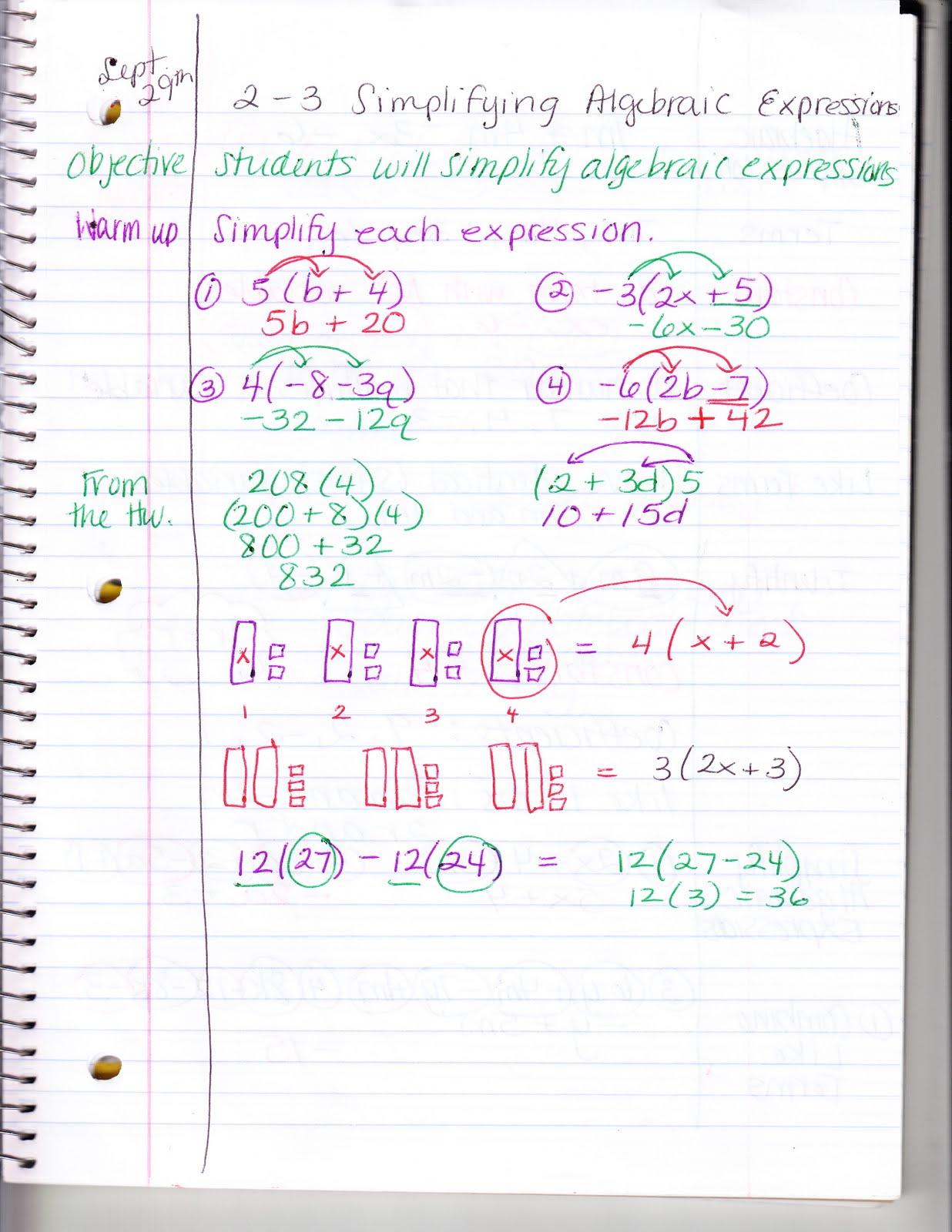 Ms Jean S Classroom Blog 2 3 Simplifying Algebraic