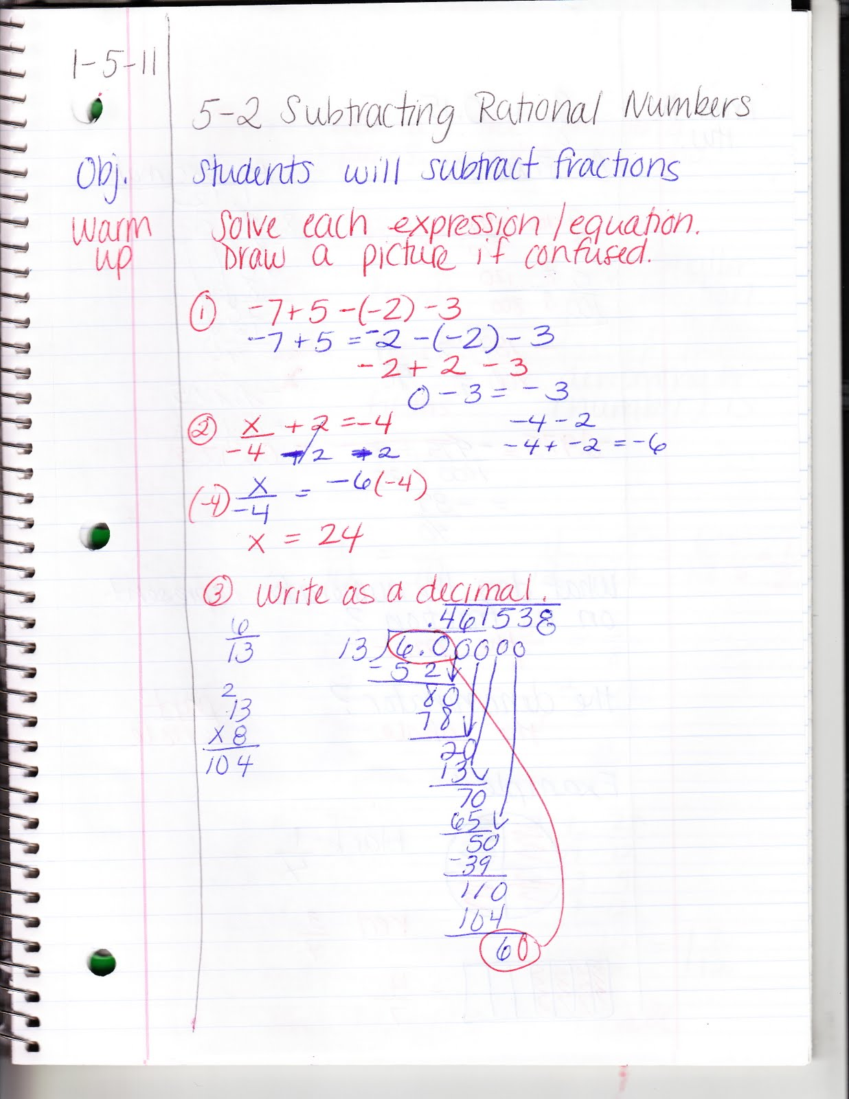Ms Jean S Algebra Readiness Blog 5 2 Subtracting Rational Numbers