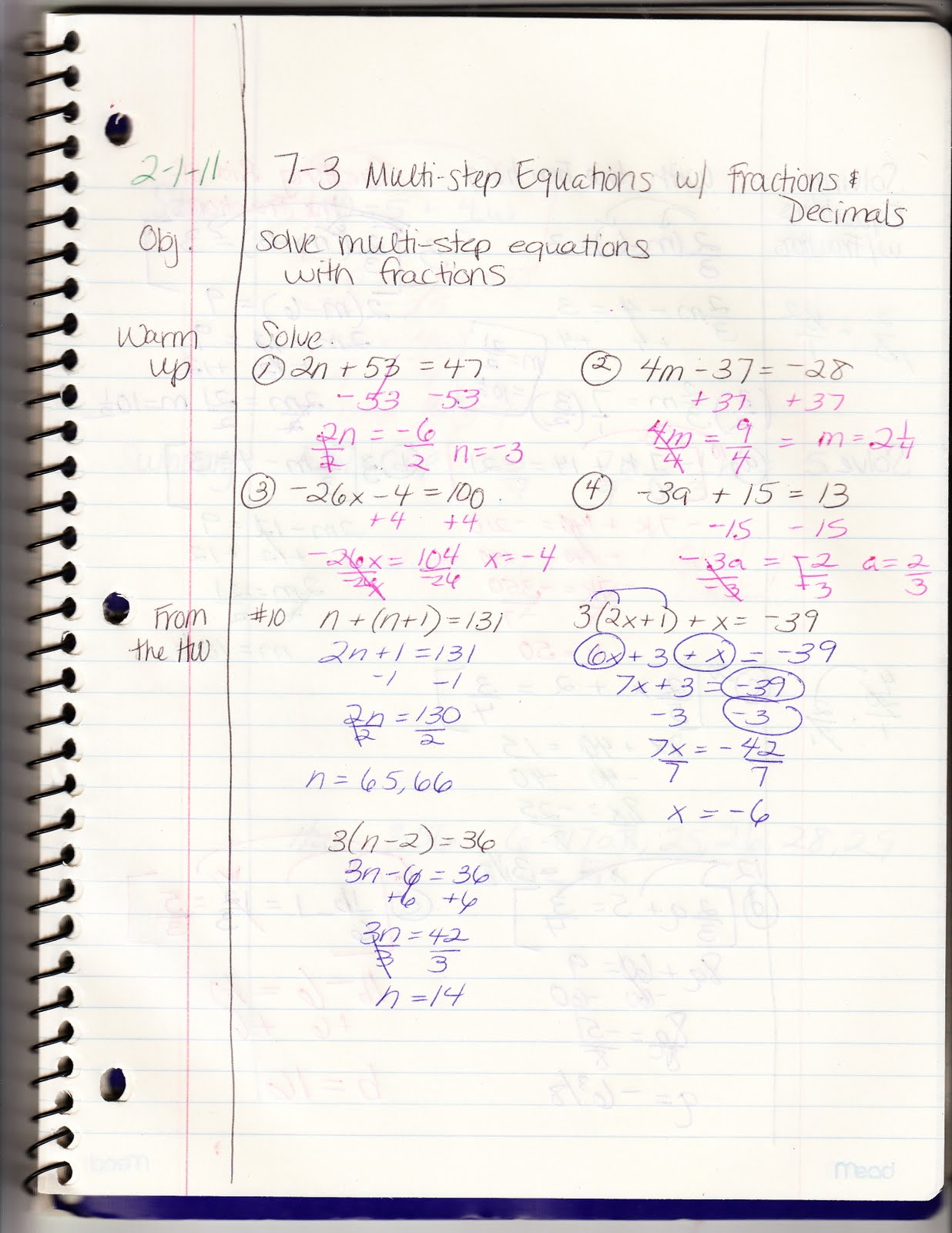 Multi Step Equations With Fractions And Decimals Homework