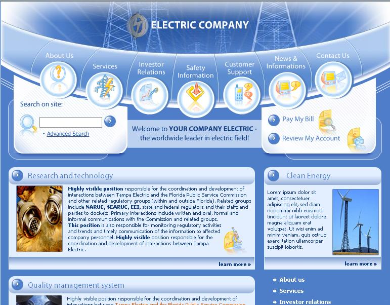 Interfaz de la web electric company