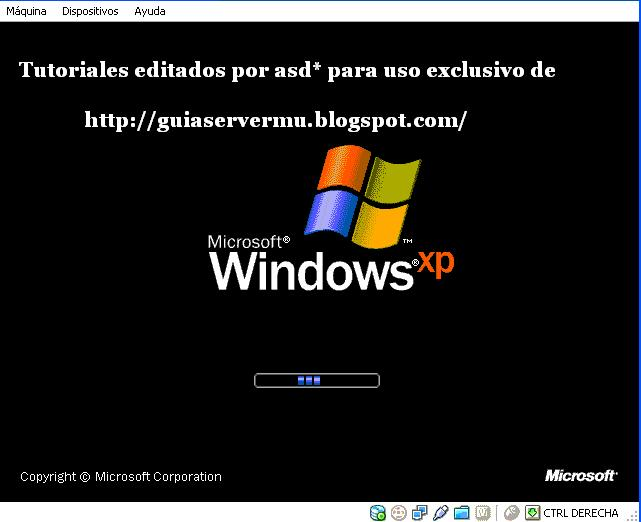 Iniciando sistema operativo windows xp en la pc virtual