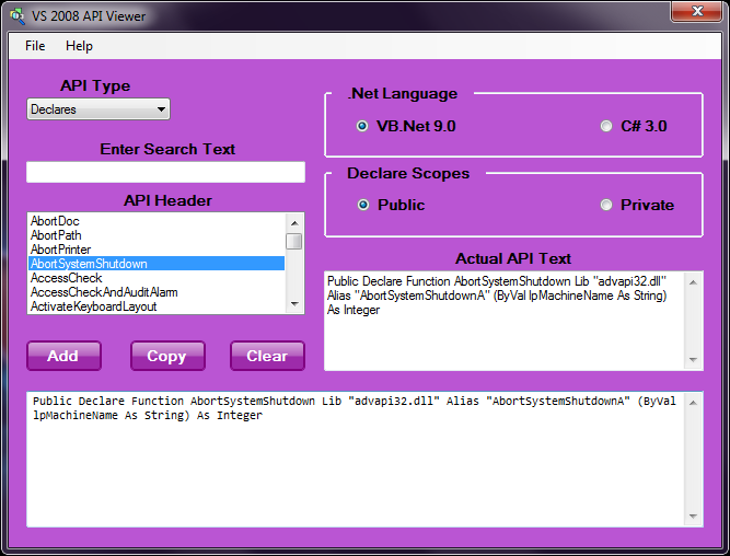 8b0b9703b44d Have you been looking for an API viewer for VB 9 and C  3  Has the old API  viewers not been able to work in Vista or Windows 7  VSAPIVIEWER is a  remake of ...