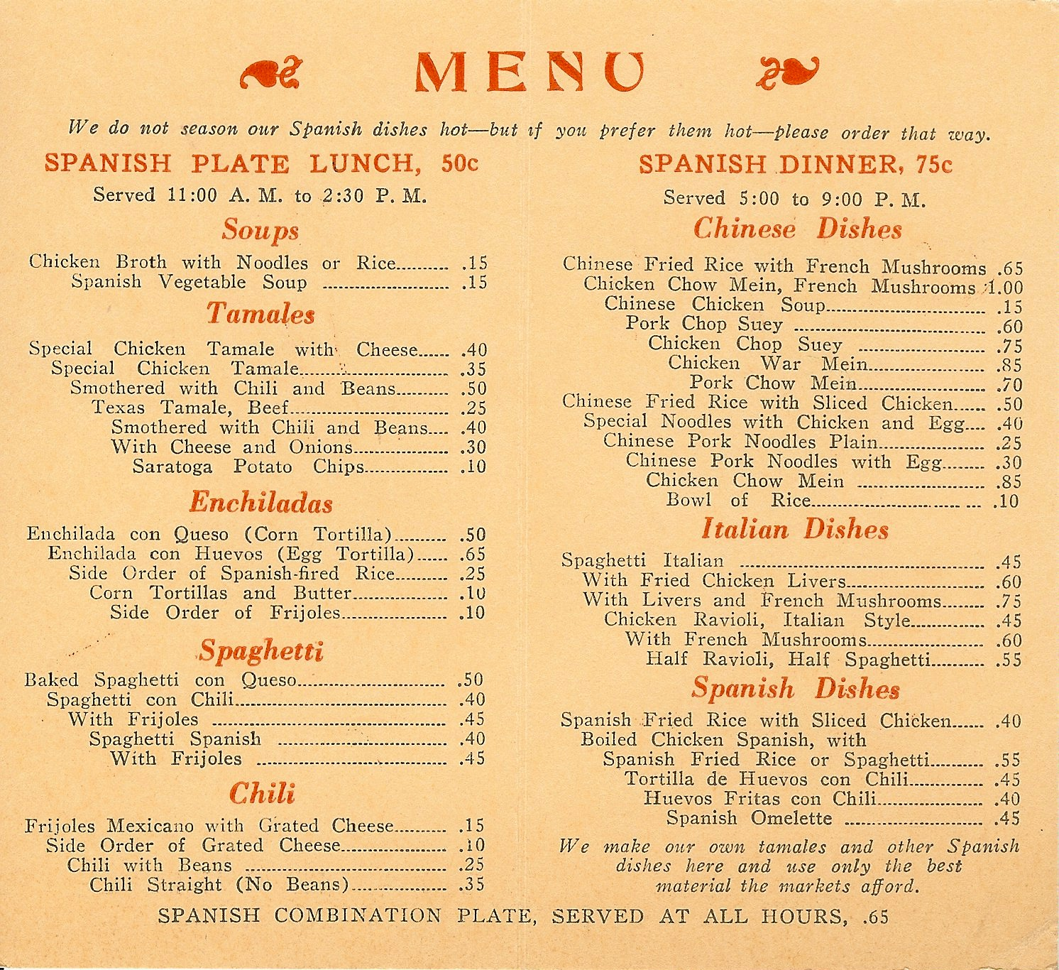 Examples Of Mexican Food Menus
