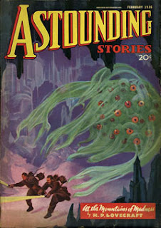 At the Mountains of Madness in Astounding Stories, febbraio 1936, copertina di Howard V. Brown