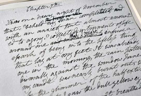 Mary Shelley, Frankenstein, manoscritto originale, immagine