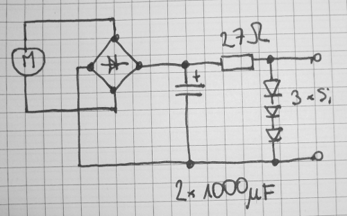 circuit with step motor used as a source of electricity