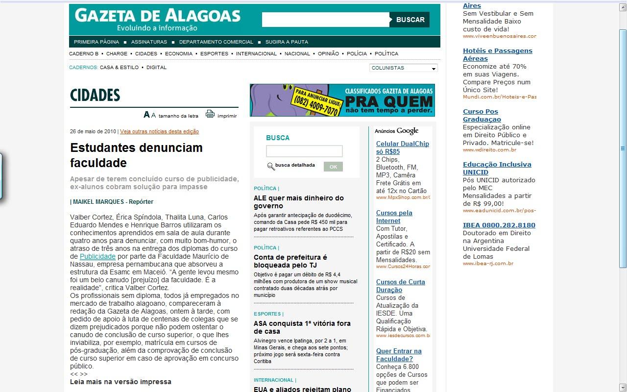jornal extra gazeta de alagoas online dating