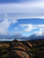 Clouds over Thark Ridge from Mt Wellington Plateau - 10 May 2007