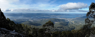 Stitched panorama of Hobart from the Organ Pipes Track, Mout Wellington - 8th May 2010