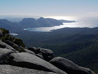 Hazards and Wineglass Bay from Mt Freycinet - 22nd August 2008
