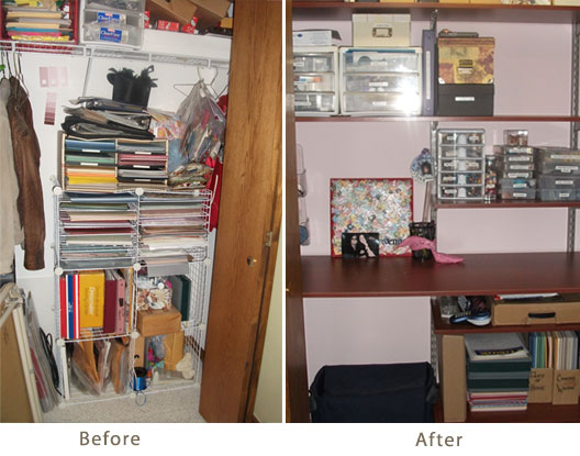 Custom Crafting Closet   The Shelving Store This particular design includes our Cherry Wood Schulte Shelves that have  been hung with Nickel Brackets and Nickel Uprights