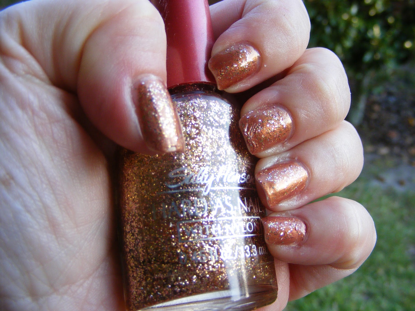 That S Some Sassy Bronze Glitter After Just Two Coats It Made A Beautiful Combo