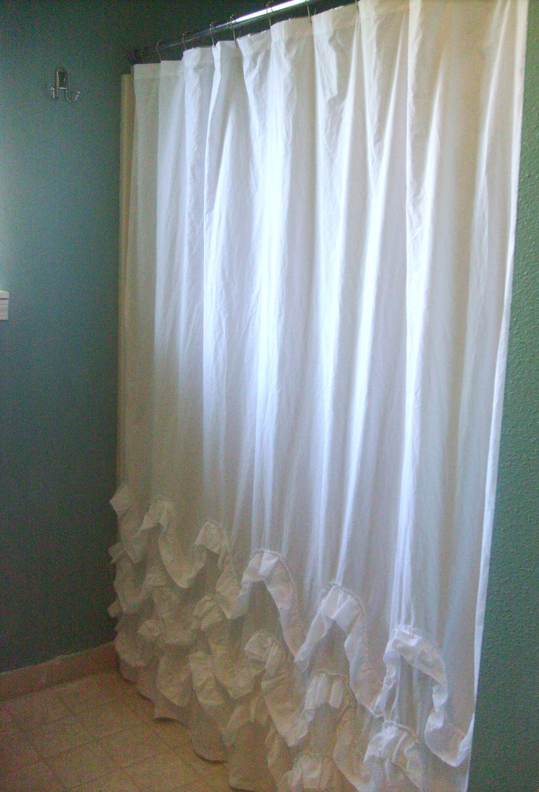 In The Bathroom Already I Have Ruffled Shower Curtain Made Inspired By Anthro And Other Lovely Sources