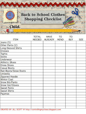 Controlling My Chaos School Clothes Shopping Check List Saves The Day