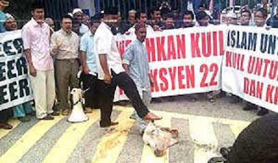 Image result for images of animal head protest in selangor