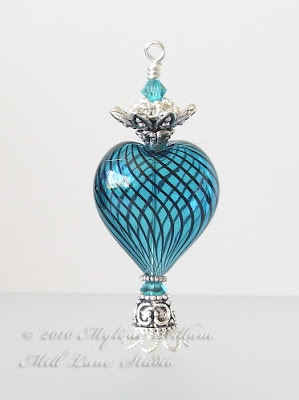 Turquoise heart-shaped faux Egyptian Perfume bottle pendant