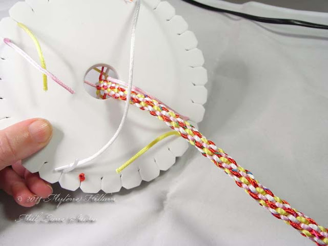 """Kumihimo basics: Keep working the braid until it measures about 20cm (8"""") in length (or the desired length of your bracelet)."""