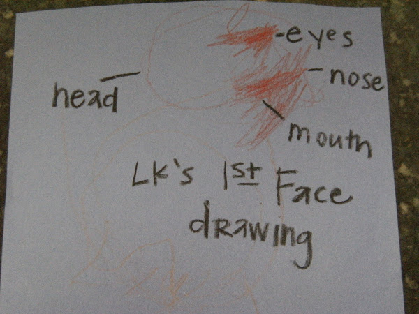 Crayons: LK's first face drawing