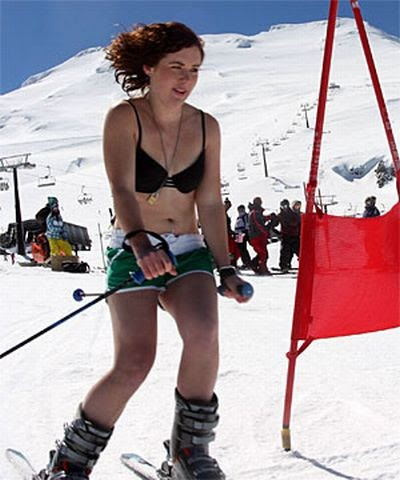 Pity, that bikini skiing pictures