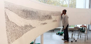 Panorama drawing of New York City