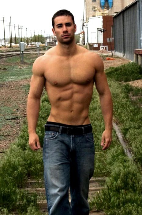Bare chested hairy man