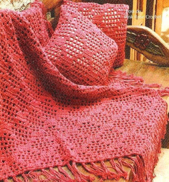 Pink Rose Crochet Manta de Sof e Almofadas em Losangos