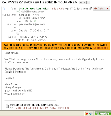 { SCAM } Mystery Shoppers...