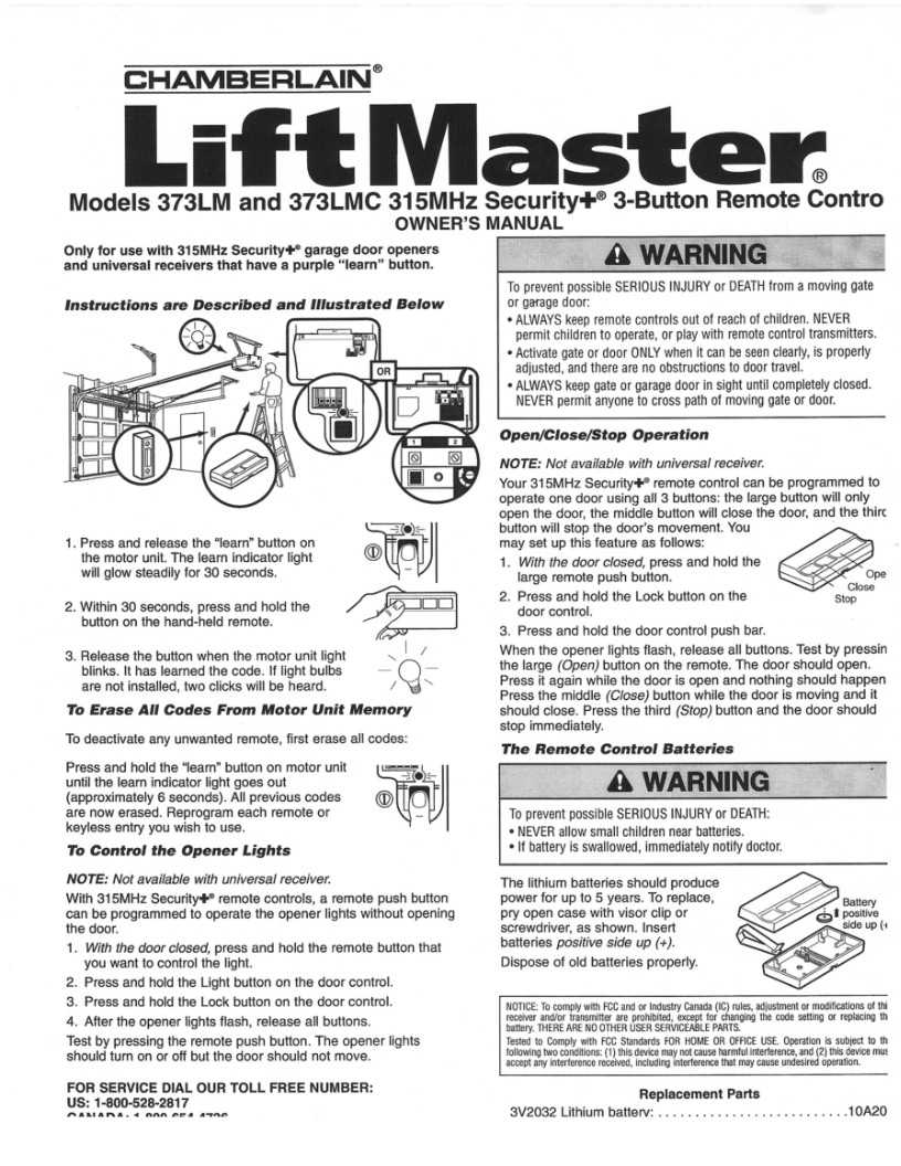 liftmaster 373lm garage door opener remote instructions