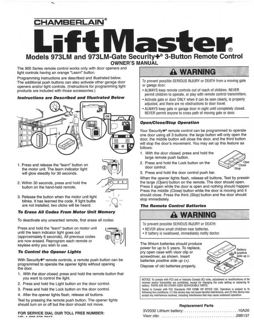 Liftmaster Remotes Instructions 973lm Liftmaster Remote