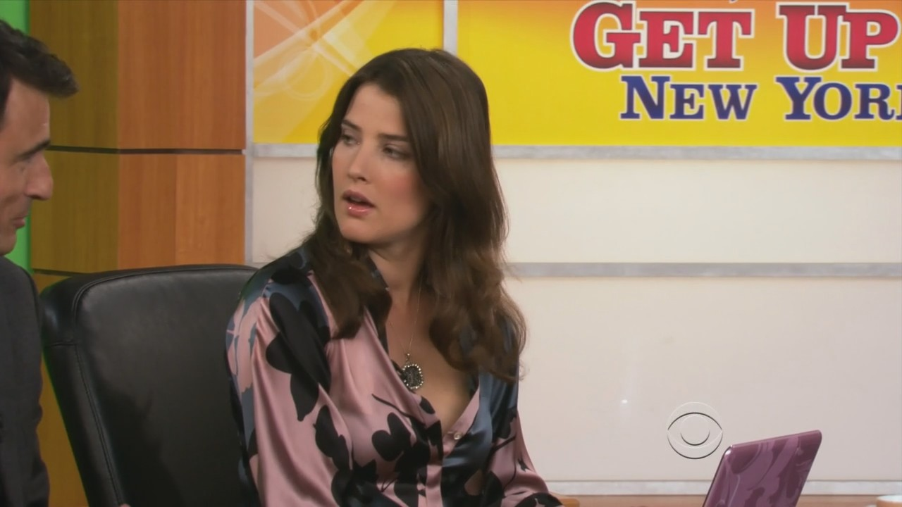58884f4fb33304 Cobie Smulders - pink and black satin blouse. from
