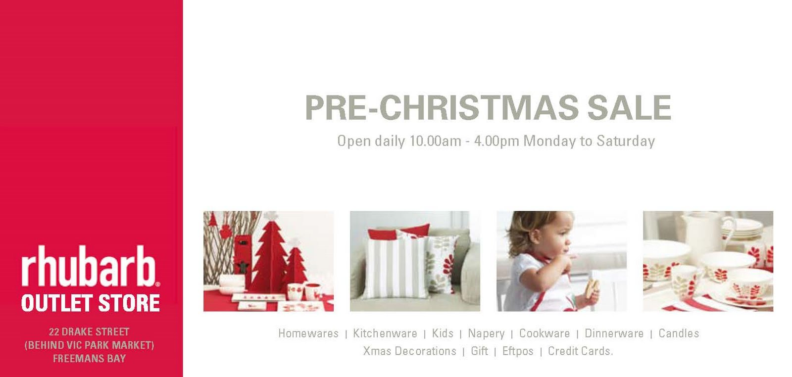 MySale  Rhubarb Outlet store pre-christmas sale starts Thursday 3rd Dec 0578d062bd