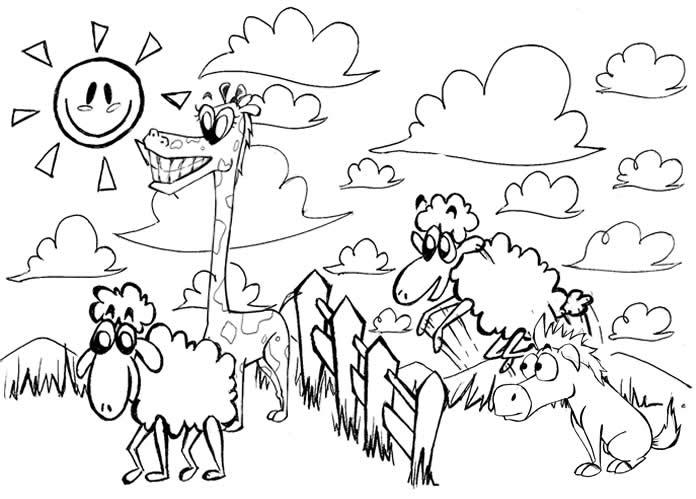 Desenho De Animais Do Zoológico Reunidos Para Colorir: Imagens Da Natureza Para Imprimir E Colorir