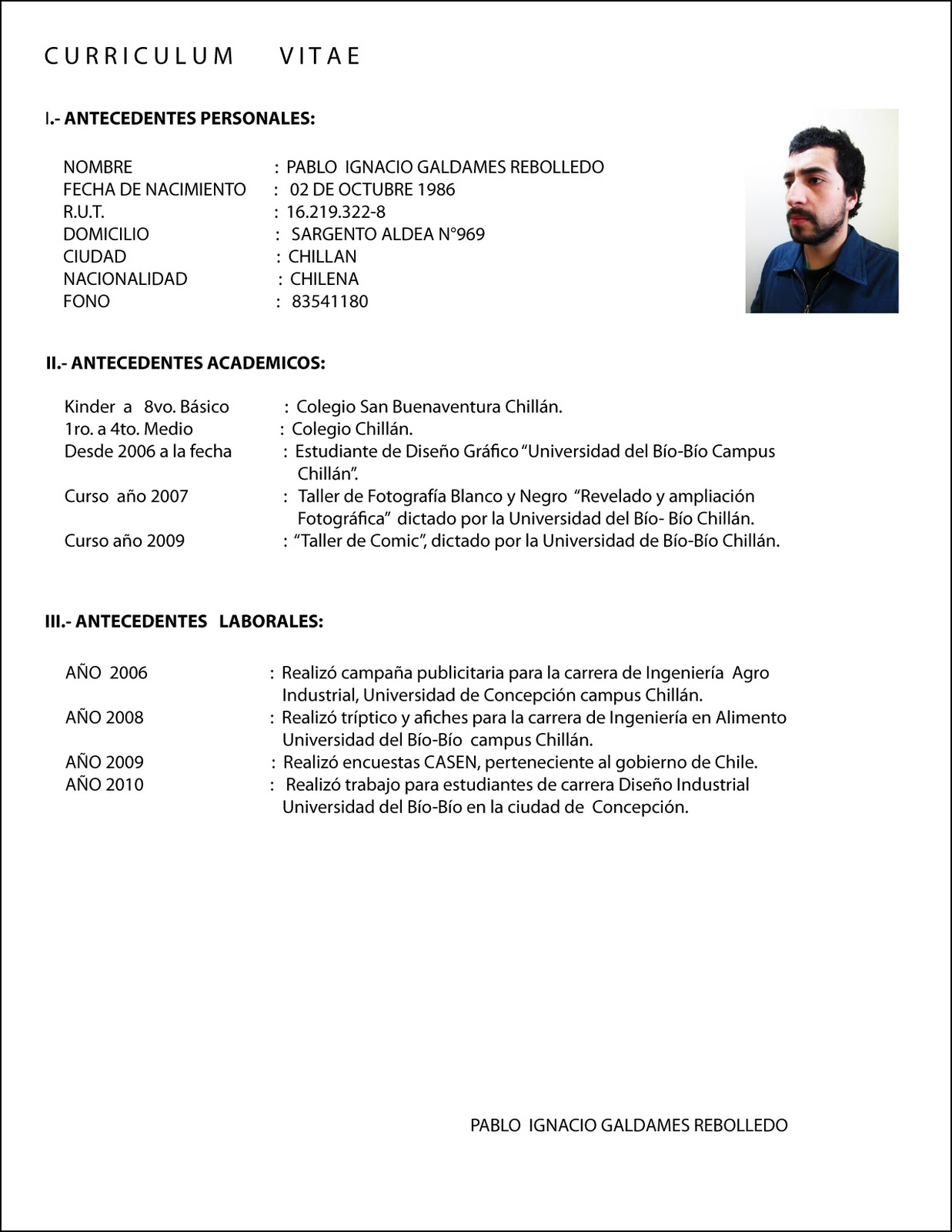 Curriculum Vitae Word En Ingles Resume Layout No Job Experience