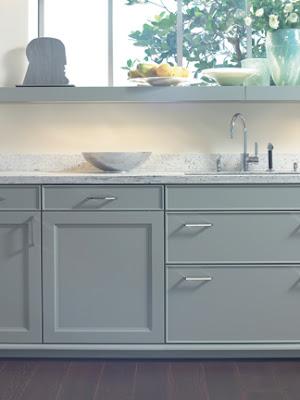 White Kitchen Flannel Grey Walls Butcher Block Countertop