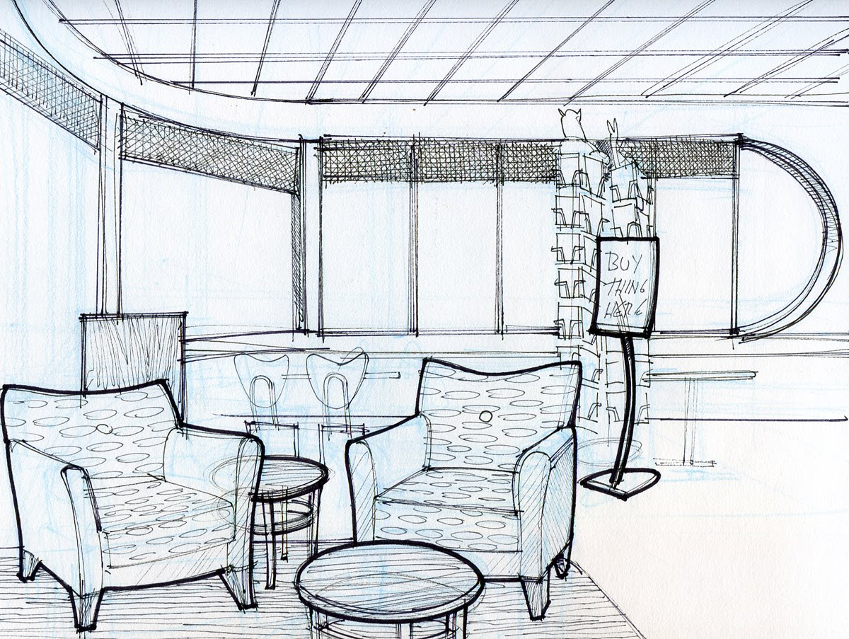 Interior Design Sketch: Kevin Dunn: Clearly I'm Sitting Around Inside Too Much