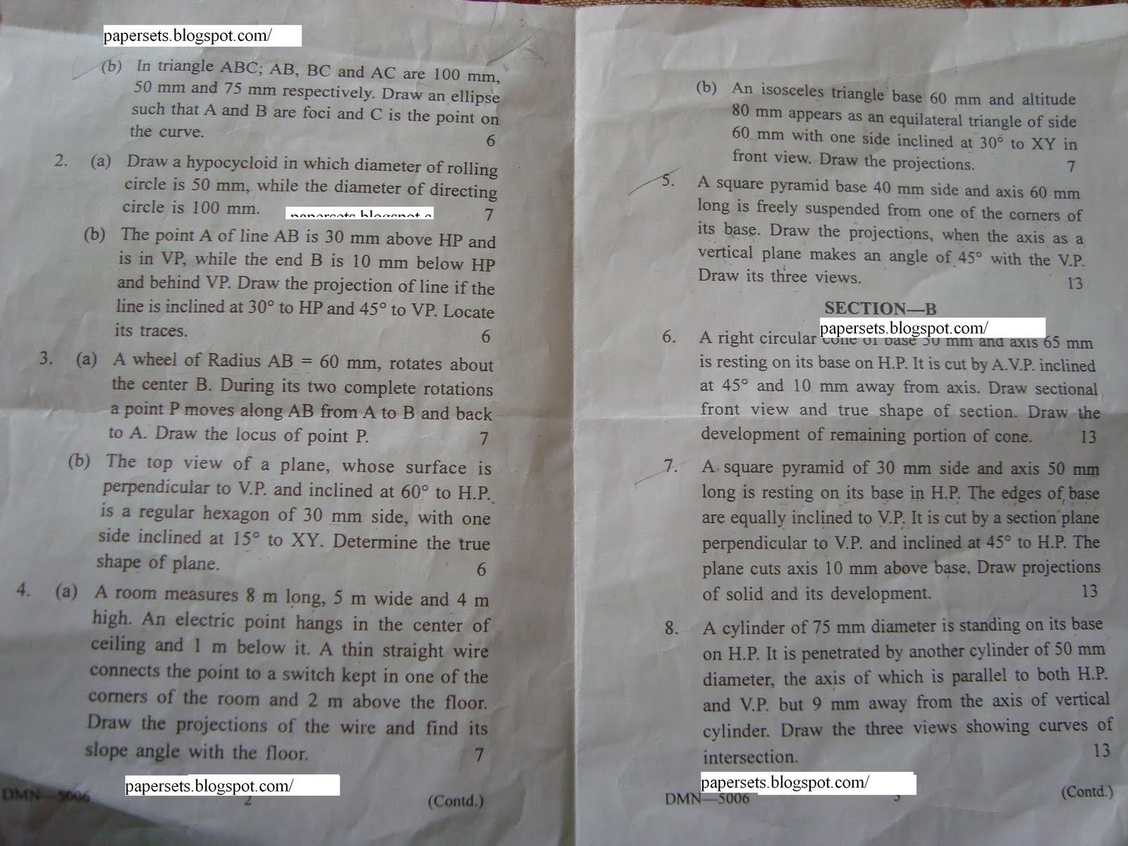 computer aided engineering drawing vtu question papers