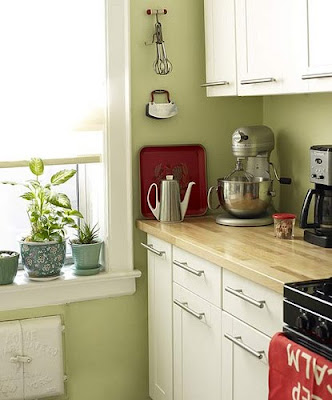 painting kitchen cabinet white in the green wall | TUESDAYS WITH DORIE: Green and white? Or white and green?