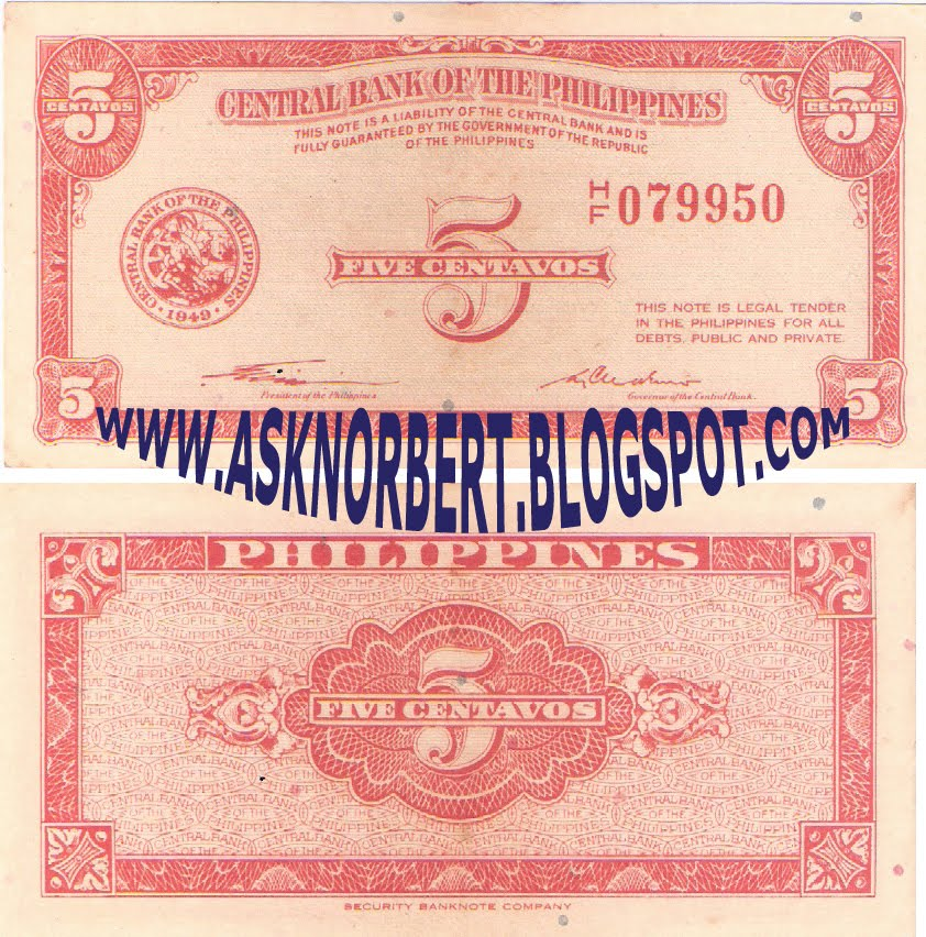 Central Bank Of The Philippines: Ask Norbert : 5 Centavos English Series Quirino